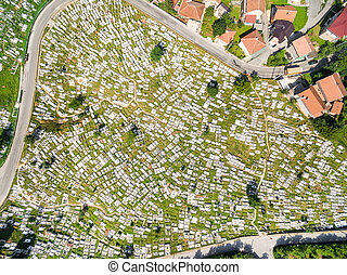 Aerial view of Ravne Bakije cemetery in Sarajevo, Bosnia and...