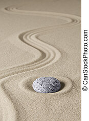 zen budhism meditation stone and sand. Paterns for...