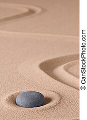 Zen meditation stone and sand garden. Symbol for relaxing...
