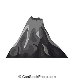 A fiery volcano.A mountain in which there is a volcanic eruption.Different mountains single icon in monochrome style vector symbol stock illustration.
