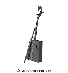Wooden musical instruments of Mongol .National music of the Mongolian.Mongolia single icon in monochrome style vector symbol stock illustration.