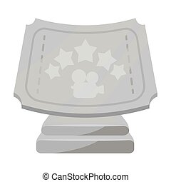 Silver prize with star, and camera on a stand.Movie awards single icon in monochrome style vector symbol stock illustration.