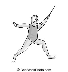 The athlete outfit with a sword.Fencing competitions .Olympic sports single icon in monochrome style vector symbol stock illustration.
