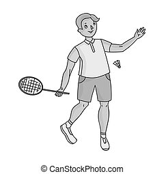 Young people involved in badminton. The game of badminton with a partner.Olympic sports single icon in monochrome style vector symbol stock illustration.