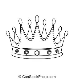 Golden crown with diamonds the winner of the beauty contest.Awards and trophies single icon in outline style vector symbol stock illustration.
