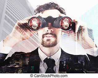 Businessman looking to the successful future - Businessman...