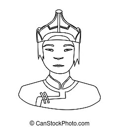 The Mongols in the helmet.Mongolian national protection.Mongolia single icon in outline style vector symbol stock illustration.