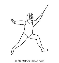 The athlete outfit with a sword.Fencing competitions .Olympic sports single icon in outline style vector symbol stock illustration.