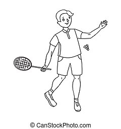 Young people involved in badminton. The game of badminton with a partner.Olympic sports single icon in outline style vector symbol stock illustration.