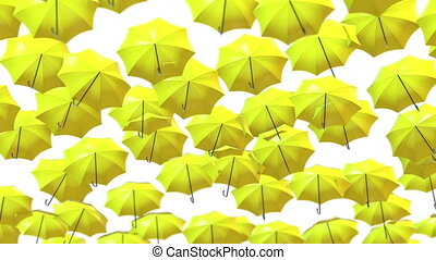 Abstract Umbrellas Soaring in the air loop background. Full...