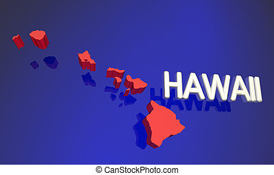 Hawaii HI Red State Map Name 3d Illustration
