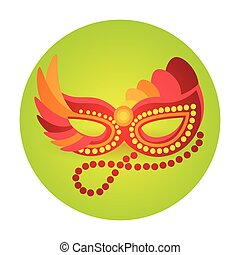 Colorful Mask Icon Brazil Carnival Rio Holiday Party...