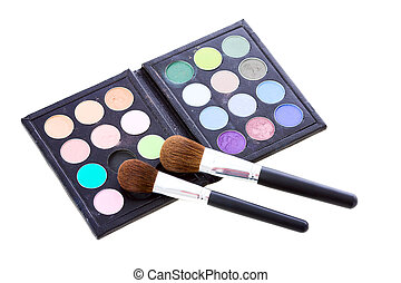 Eye shadows - Palette of Eye shadows with brushes isolated...