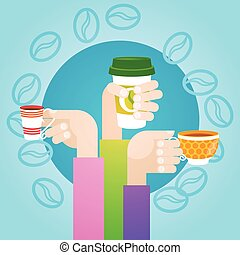 Hand Hold Cup Tea Coffee Break Morning Beverage Flat Vector...