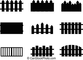 Set of Rural Black Fences Silhouettes - Set of rural black...