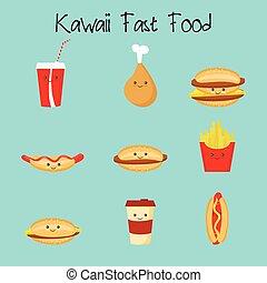 Cartoon Kawaii Fastfood - Cartoon potato, cheeseburger,...