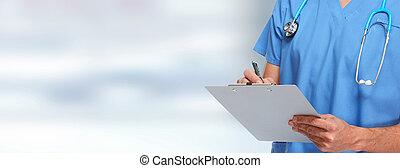 Doctor pharmacist. - Doctor pharmacist hands over blue...