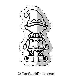 christmas character elve cut line vector illustraiton eps 10