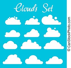 White clouds on blue background, vector set, eps10
