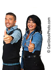 Business team people giving thumbs - Two happy business...