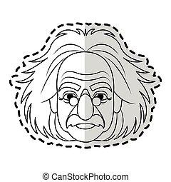 albert einstein icon image sticker vector illustration...