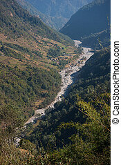 the watercourse of the river from mountain , Nepal