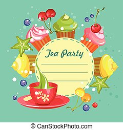 sweet cupcakes card - Vector illustration of sweets cupcakes...