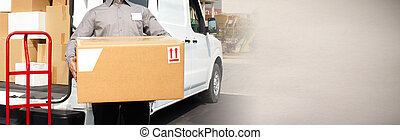 Delivery postman hands with a box - Professional delivery...