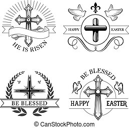 Easter holiday religious cross isolated emblem set