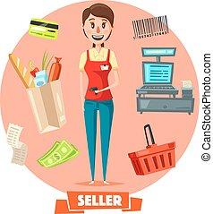 Seller woman or cashier in shop vector retail - Shop seller...