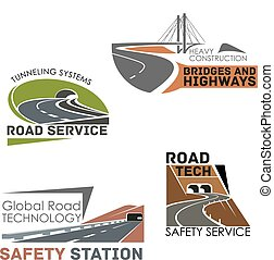 Road construction and service vector icons - Highways and...