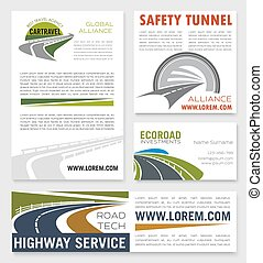 Road and highway service company vector banners - Highway...