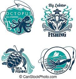 Fishing sport club or trip vector icons set - Fishing trip...