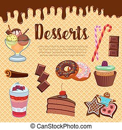 Desserts waffle and cakes vector poster - Pastry desserts...