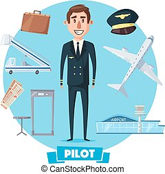 Pilot profession man and vector flight items - Pilot man in...