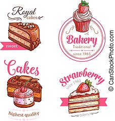 Cakes and cupcakes dessert vector emblems - Patisserie...