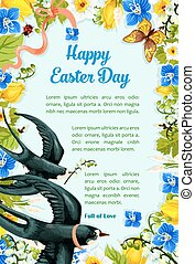 Easter poster swallows, vector paschal flowers - Happy...