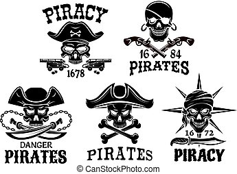 Pirate symbols and Jolly Roger vector icons set