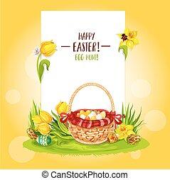 Easter Egg Hunt basket with flowers