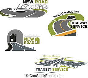 Road service, bridge or tunneling vector icons - Road...