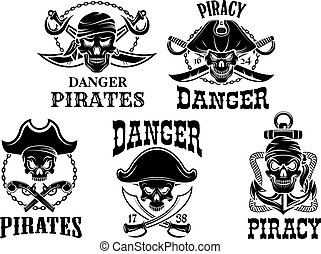 Jolly Roger pirate vector icons set