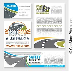 Speed road construction and service vector banners - Road...