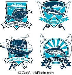 Fishing sport club vector icons set - Fishing vector icons...