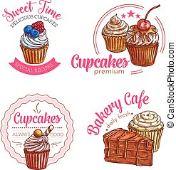 Dessert cakes and cupcakes vector icons - Cakes and cupcakes...