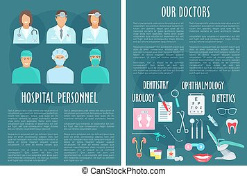 Hospital medical doctor personnel vector posters - Doctors...
