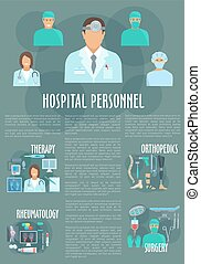 Medical or hospital personnel vector infographics - Hospital...