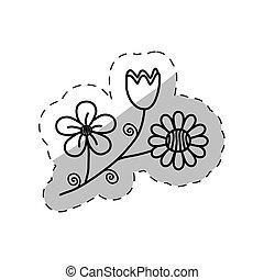 flowers decoration flora cut line vector illustraiton eps 10