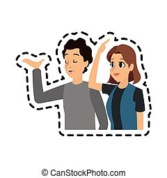 young man and woman icon image