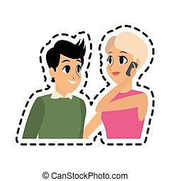 Adultos, imagem, jovem, conversação, tendo, ícone