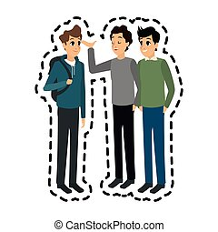 young adults having a conversation icon image vector...